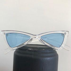Accessories - Retro Slender Clear Cat Eye Frame Sunglasses